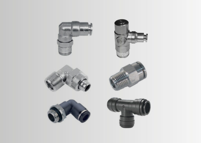 PNEUMATIC FITTINGS MADE OF BRASS - STAINLESS STEEL AISI 316 - TECHNOPOLYMER