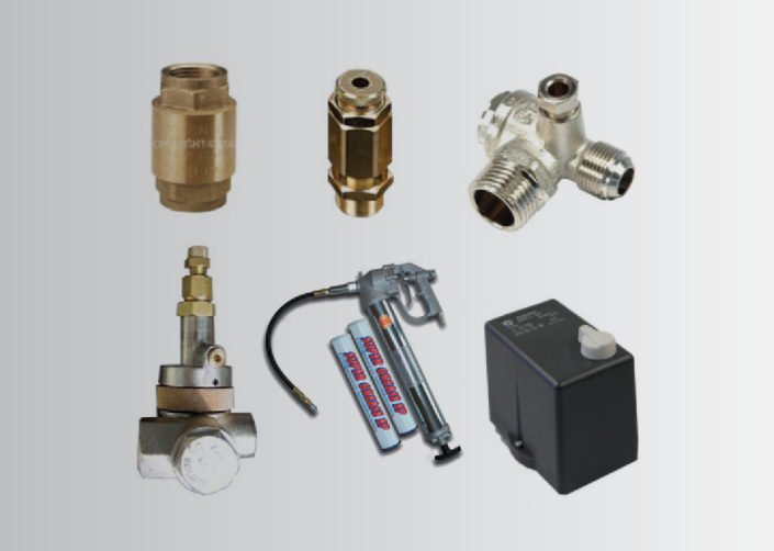 COMPONENTS AND SPARE PARTS FOR AIR COMPRESSORS - GREASE PUMPS - PRESSURE SWITCHES