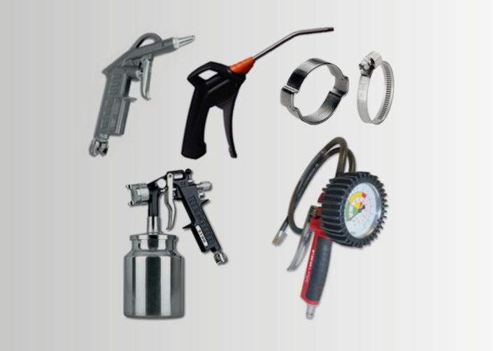 SPRAY GUNS - AIR BLOWING, TYRE-INFLATING, WASHING GUNS - HOSE CLAMPS AND TIGHTENERS - AIR TOOLS